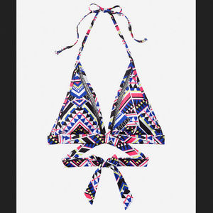 NWT Tribal Print And Mesh Wrap, Halter Bikini Top
